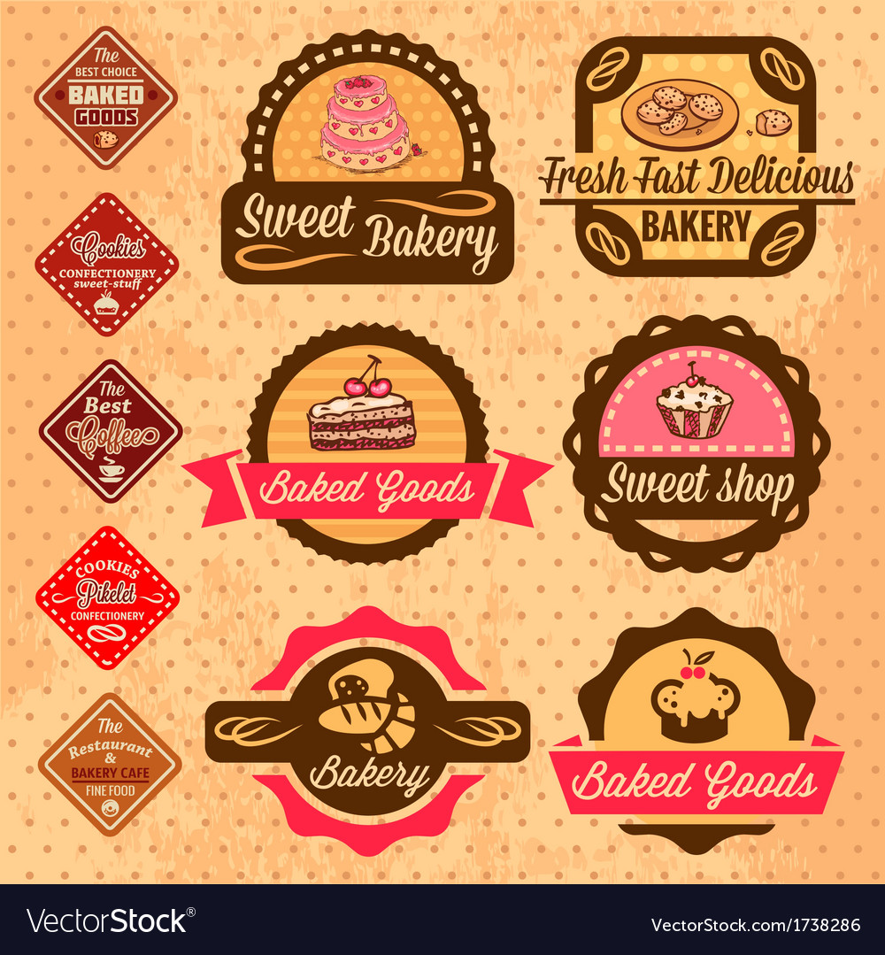 Baked goods design elements vector | Price: 1 Credit (USD $1)