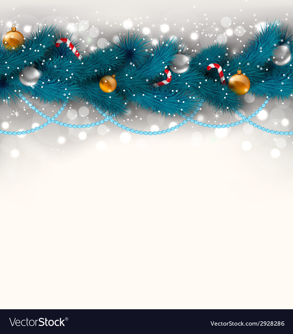 Christmas decoration with fir branches glass balls vector | Price: 1 Credit (USD $1)