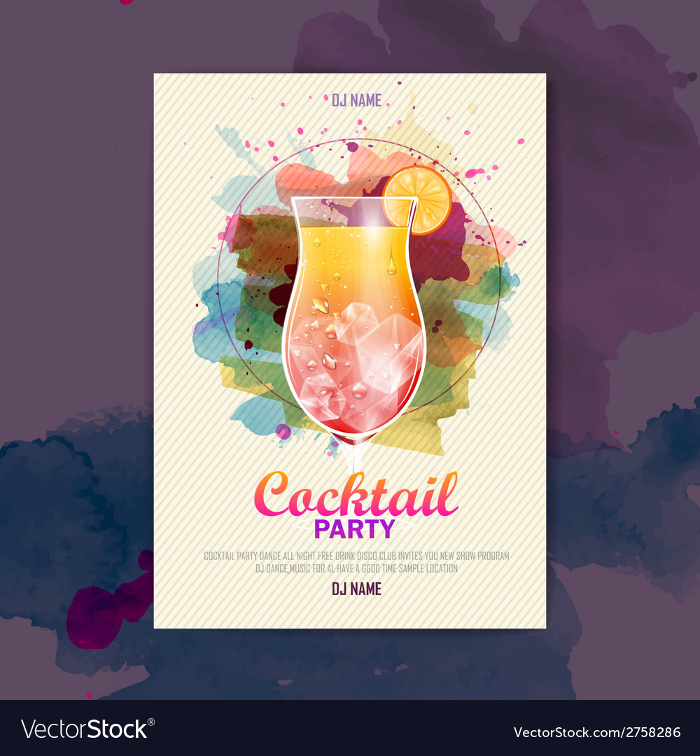 Cocktail watercolor paint disco poster vector | Price: 3 Credit (USD $3)