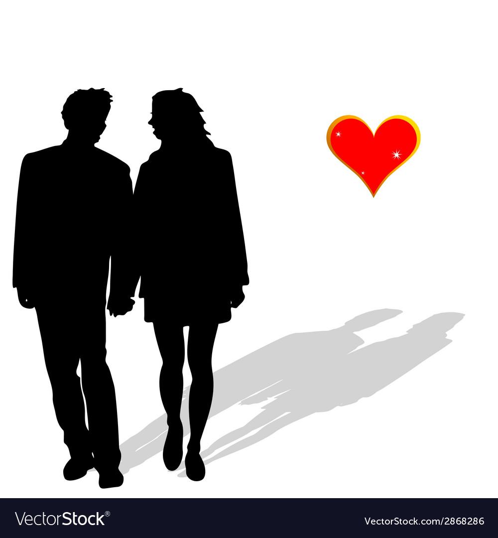 Couple in love silhouette vector | Price: 1 Credit (USD $1)