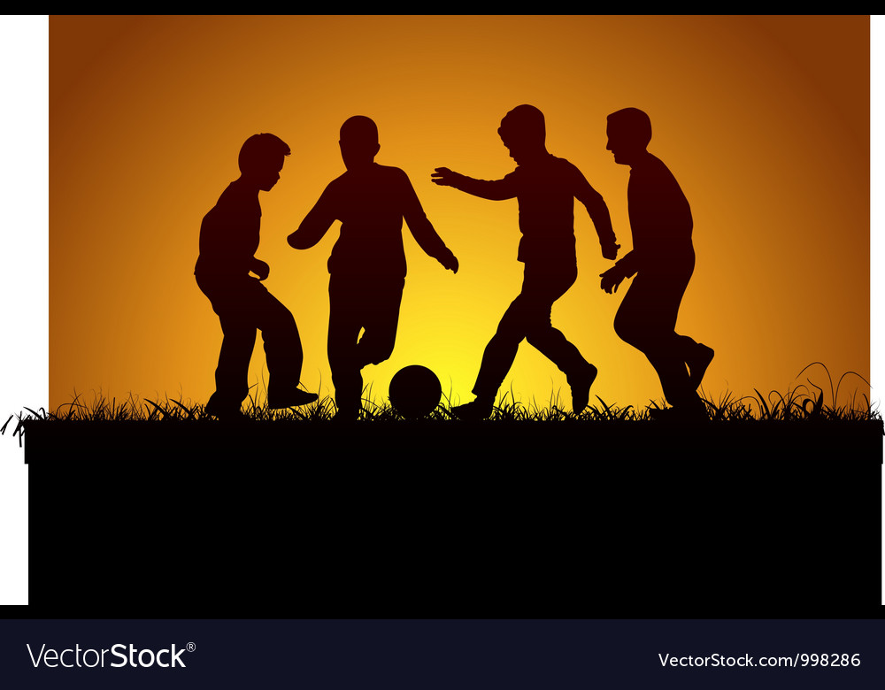Four boys playing football vector | Price: 1 Credit (USD $1)