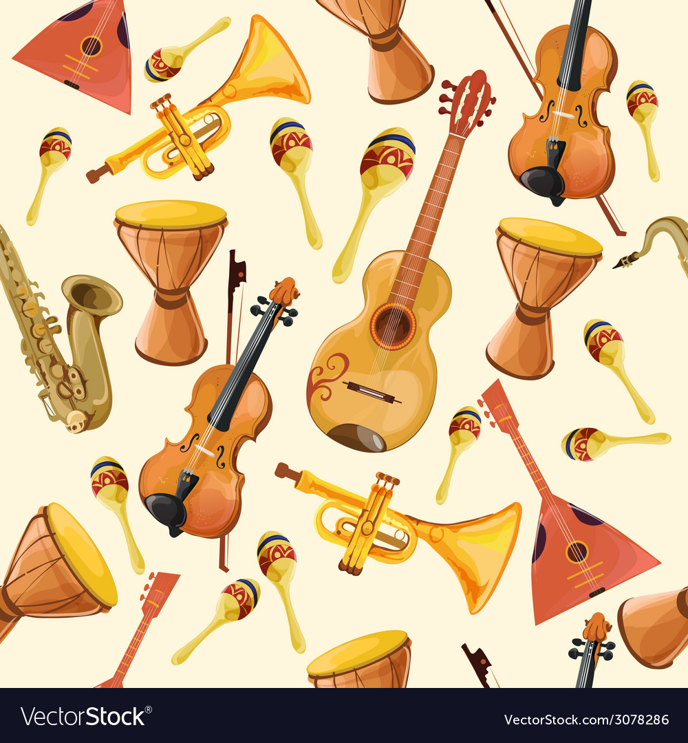 Music instruments seamless pattern vector | Price: 1 Credit (USD $1)