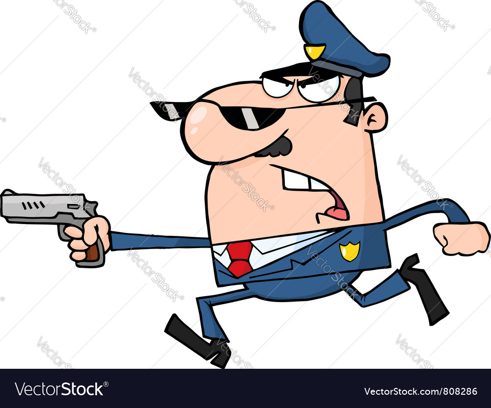 Police officer running with a gun vector | Price: 1 Credit (USD $1)