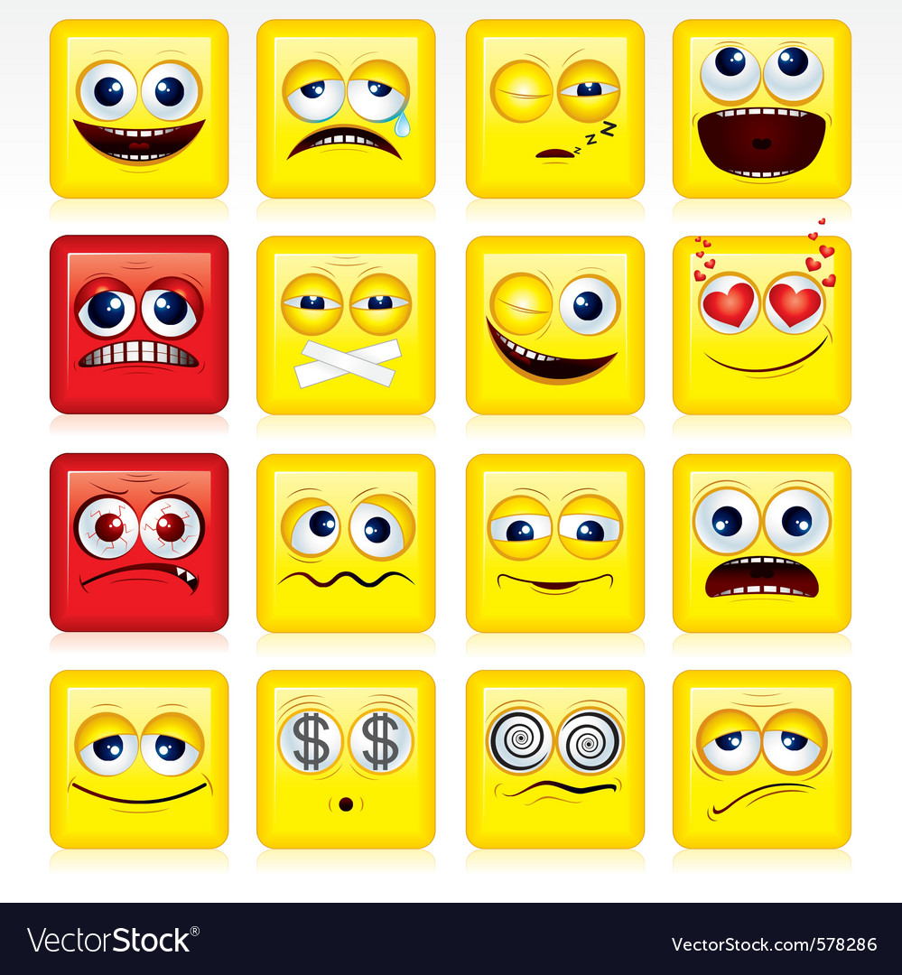 Stylized square shaped yellow smileys vector | Price: 1 Credit (USD $1)