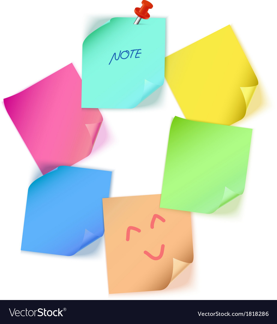 Various color paper note vector | Price: 1 Credit (USD $1)