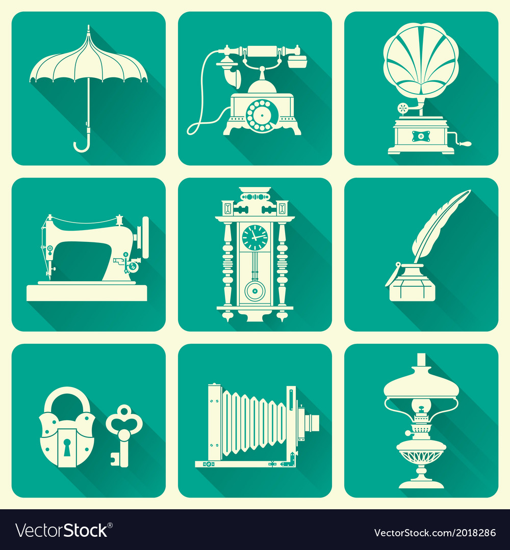 Vintage objects icons vector | Price: 1 Credit (USD $1)