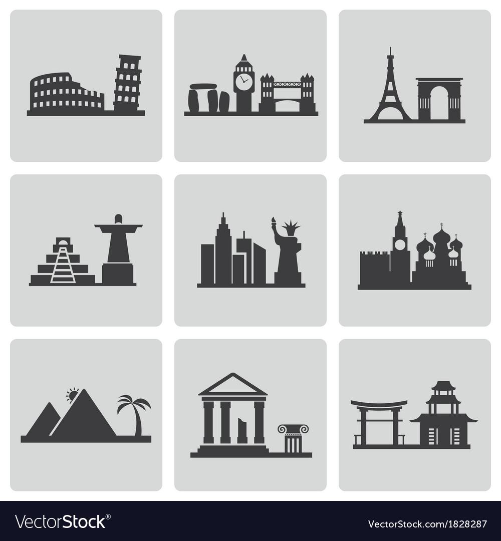 Black landmarks icons set vector | Price: 1 Credit (USD $1)