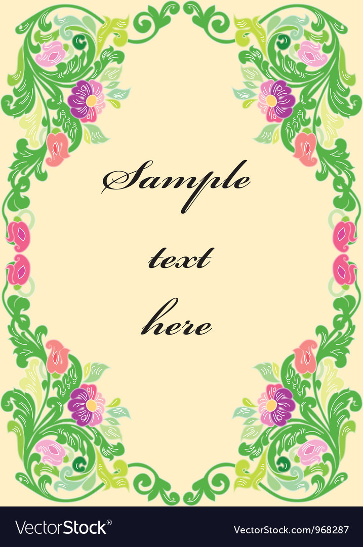 Colorful floral frame isolated on white background vector | Price: 1 Credit (USD $1)