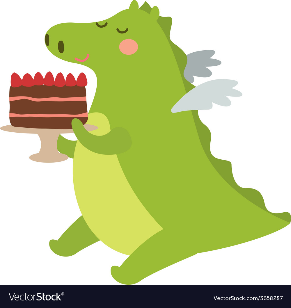 Dragon with pie vector | Price: 1 Credit (USD $1)