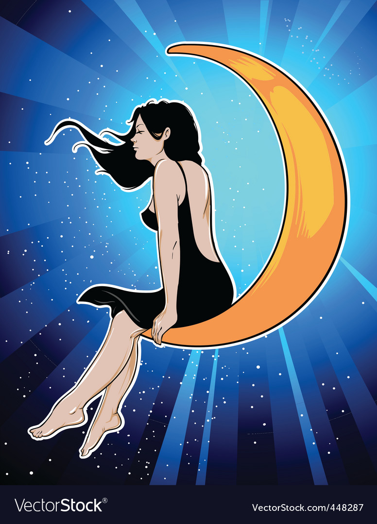 Girl on moon vector | Price: 3 Credit (USD $3)