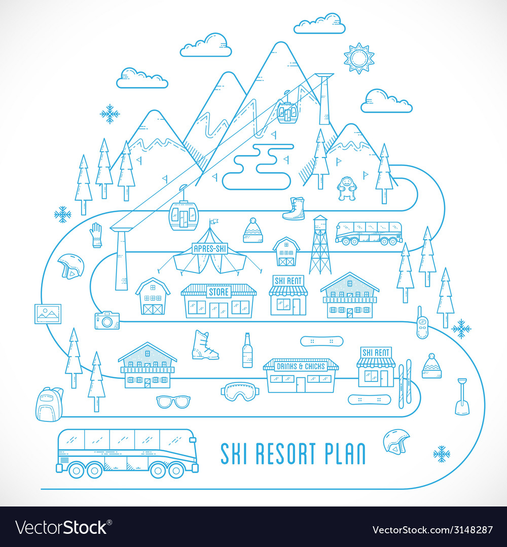 Line style ski resort vacation vector | Price: 1 Credit (USD $1)