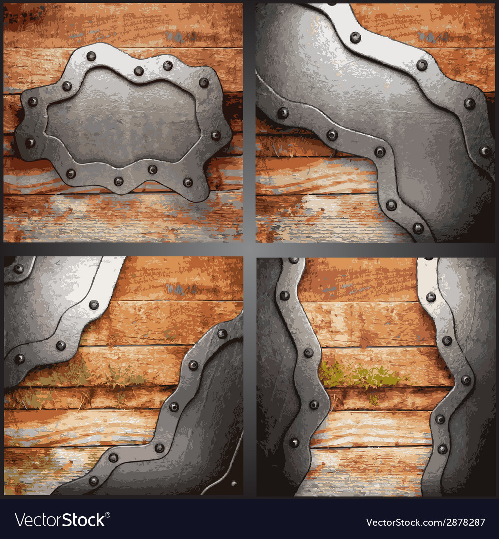 Metal and wood background set vector | Price: 1 Credit (USD $1)