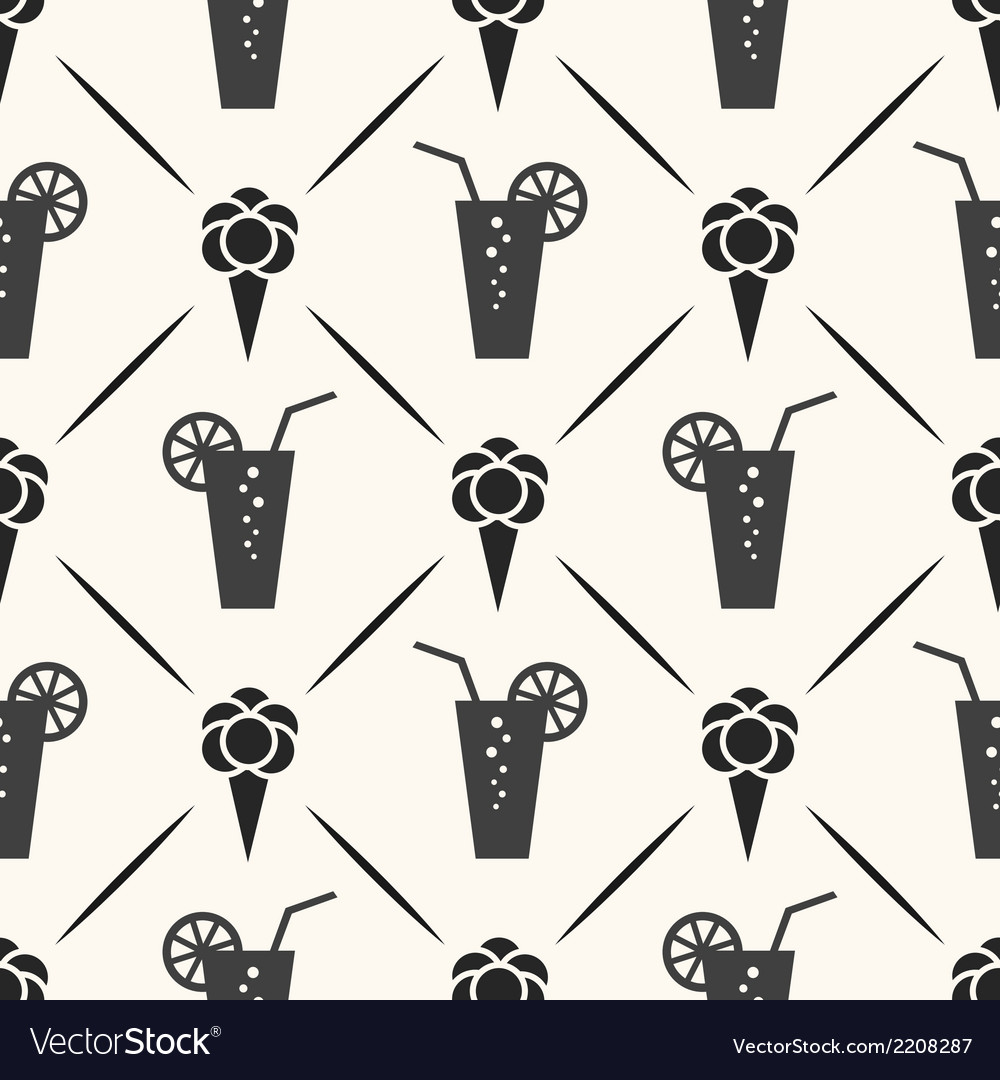 Seamless pattern of ice cream cocktail and line vector | Price: 1 Credit (USD $1)