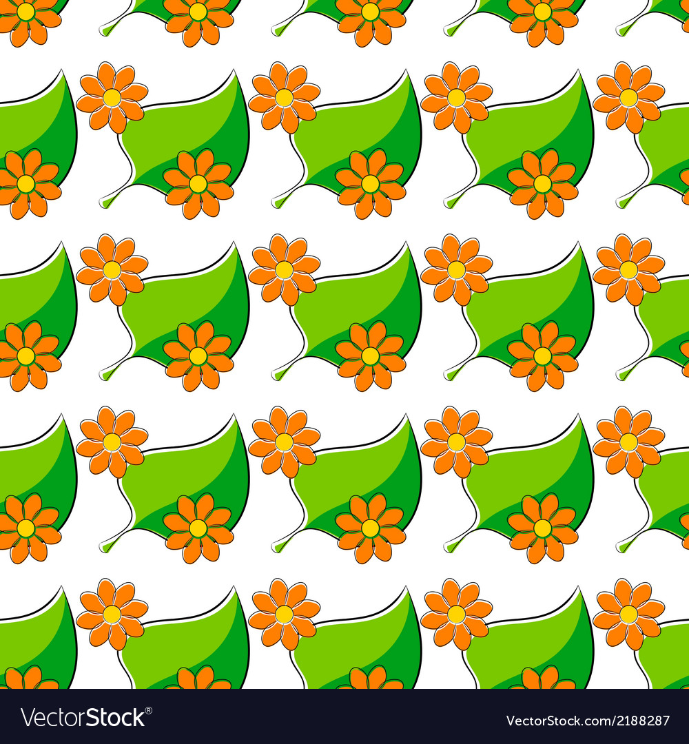 Seamless pattern with chamomiles and green leaf vector | Price: 1 Credit (USD $1)