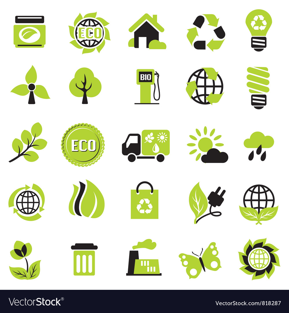 Set eco signs vector | Price: 1 Credit (USD $1)