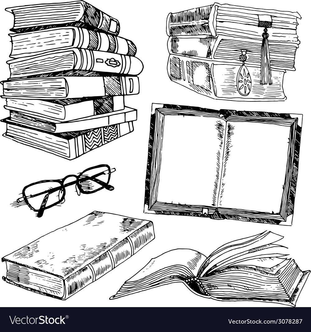 Set of books sketch vector | Price: 1 Credit (USD $1)
