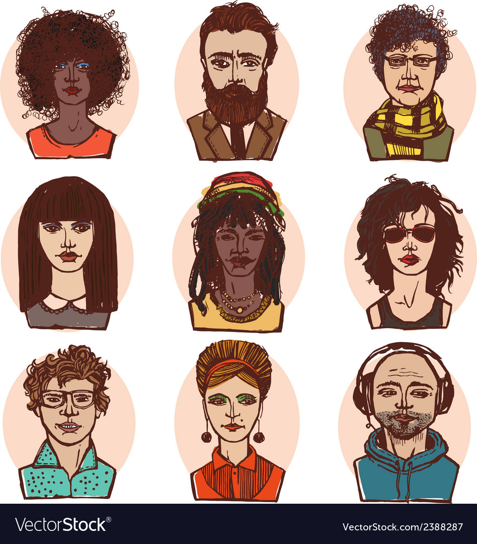 Sketch people portraits colored set vector | Price: 1 Credit (USD $1)