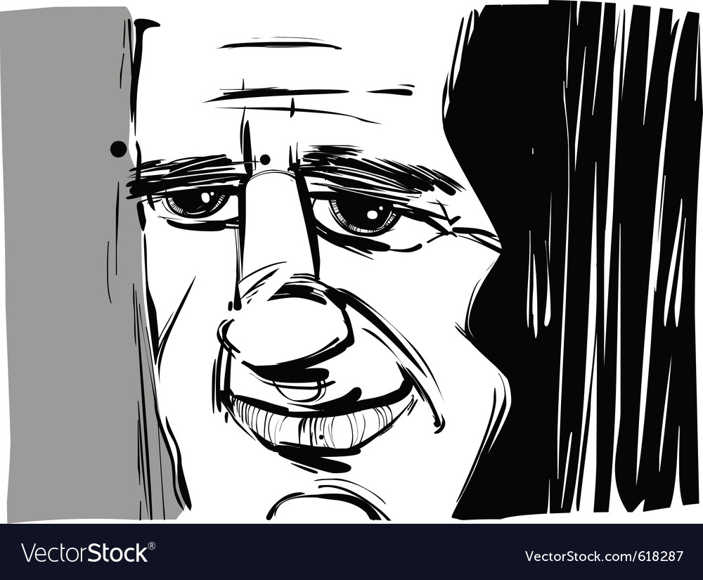 Smiling man caricature sketch vector | Price: 1 Credit (USD $1)