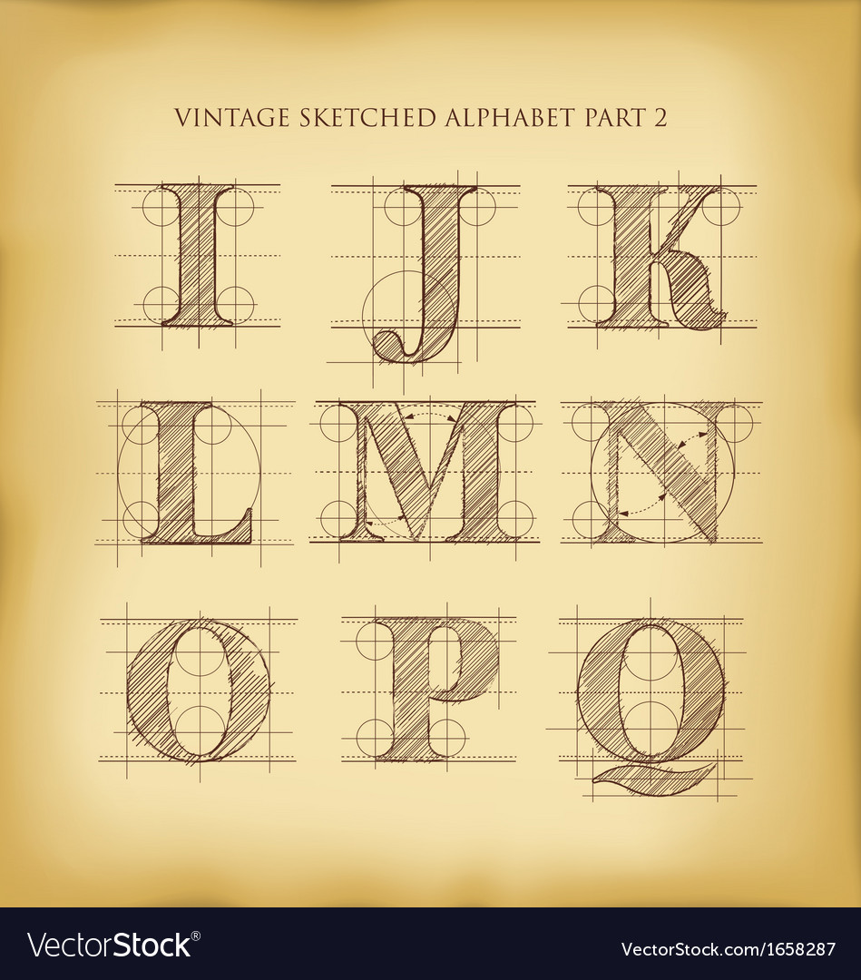 Vintage sketched alphabet set 2 vector | Price: 1 Credit (USD $1)