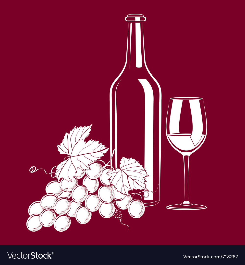 Vintage still life with wine and grapes vector | Price: 1 Credit (USD $1)