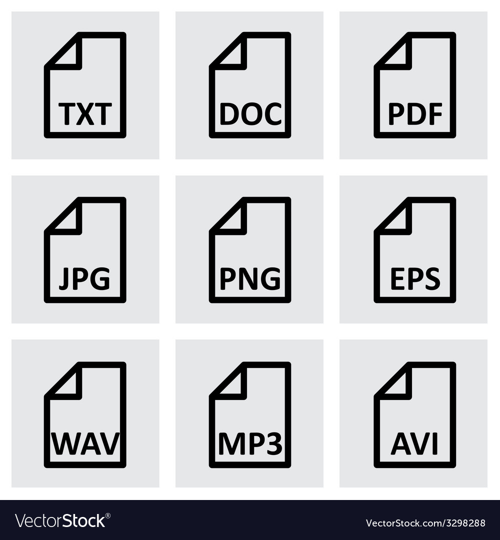 Black file type icon set vector | Price: 1 Credit (USD $1)