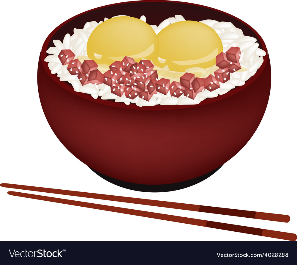 Bowl of boiled rice with raw egg and maguro vector | Price: 1 Credit (USD $1)