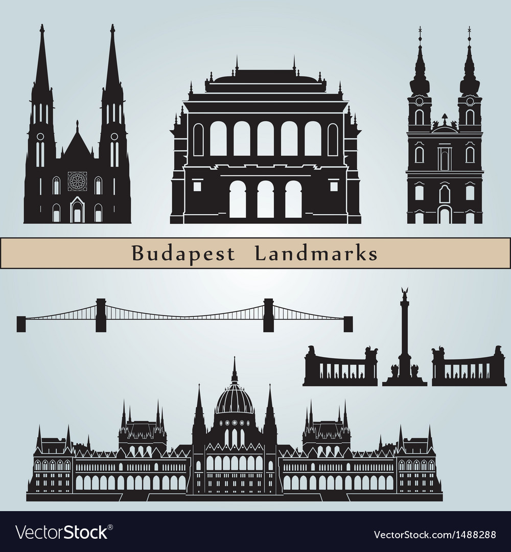 Budapest landmarks and monuments vector | Price: 1 Credit (USD $1)