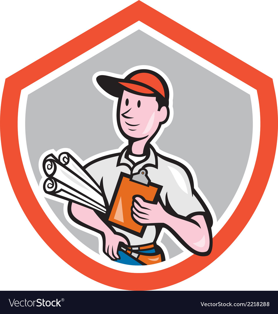 Builder carpenter with plans shield cartoon vector | Price: 1 Credit (USD $1)
