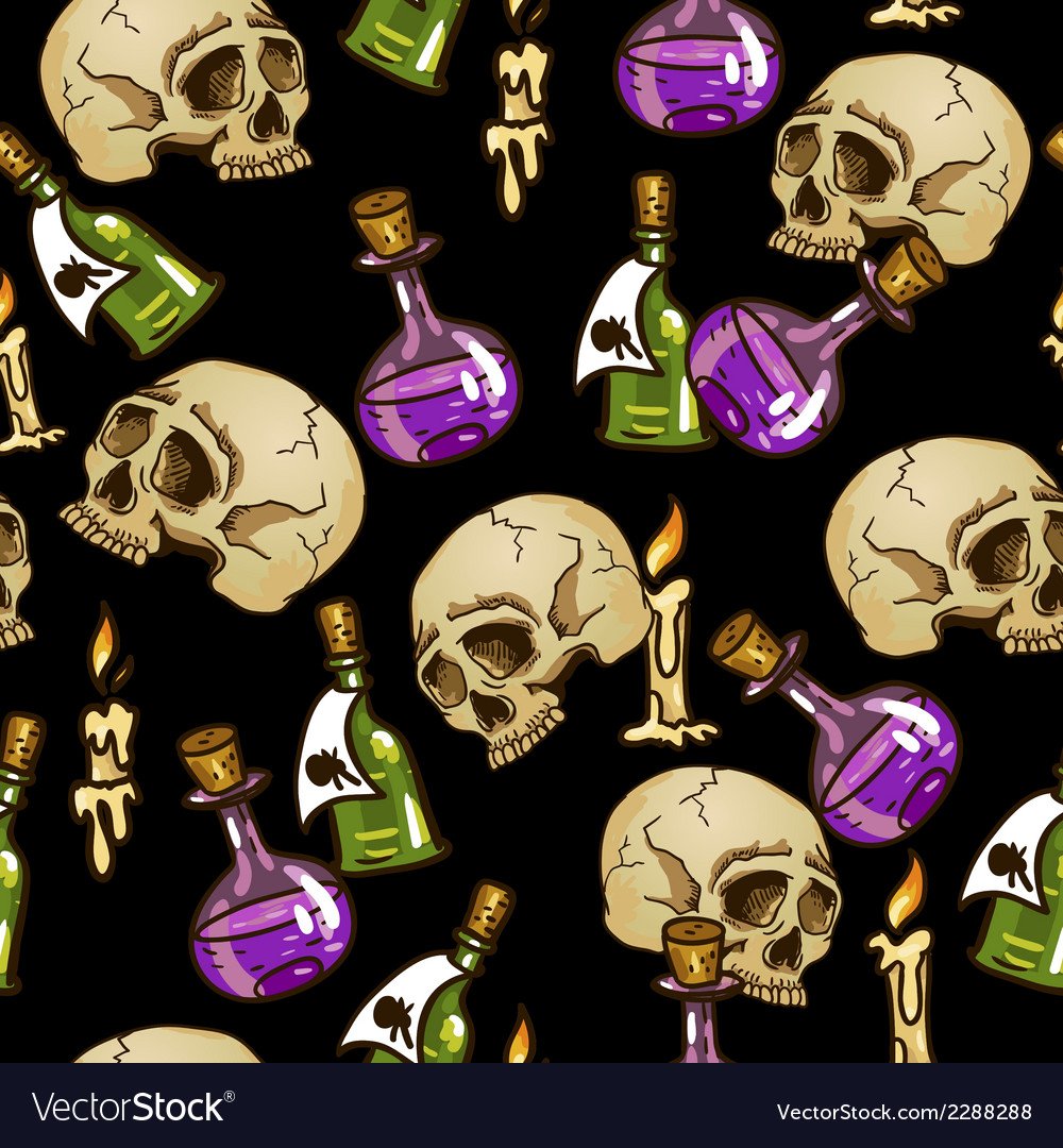 Doodle seamless pattern with flasks and skulls vector | Price: 1 Credit (USD $1)