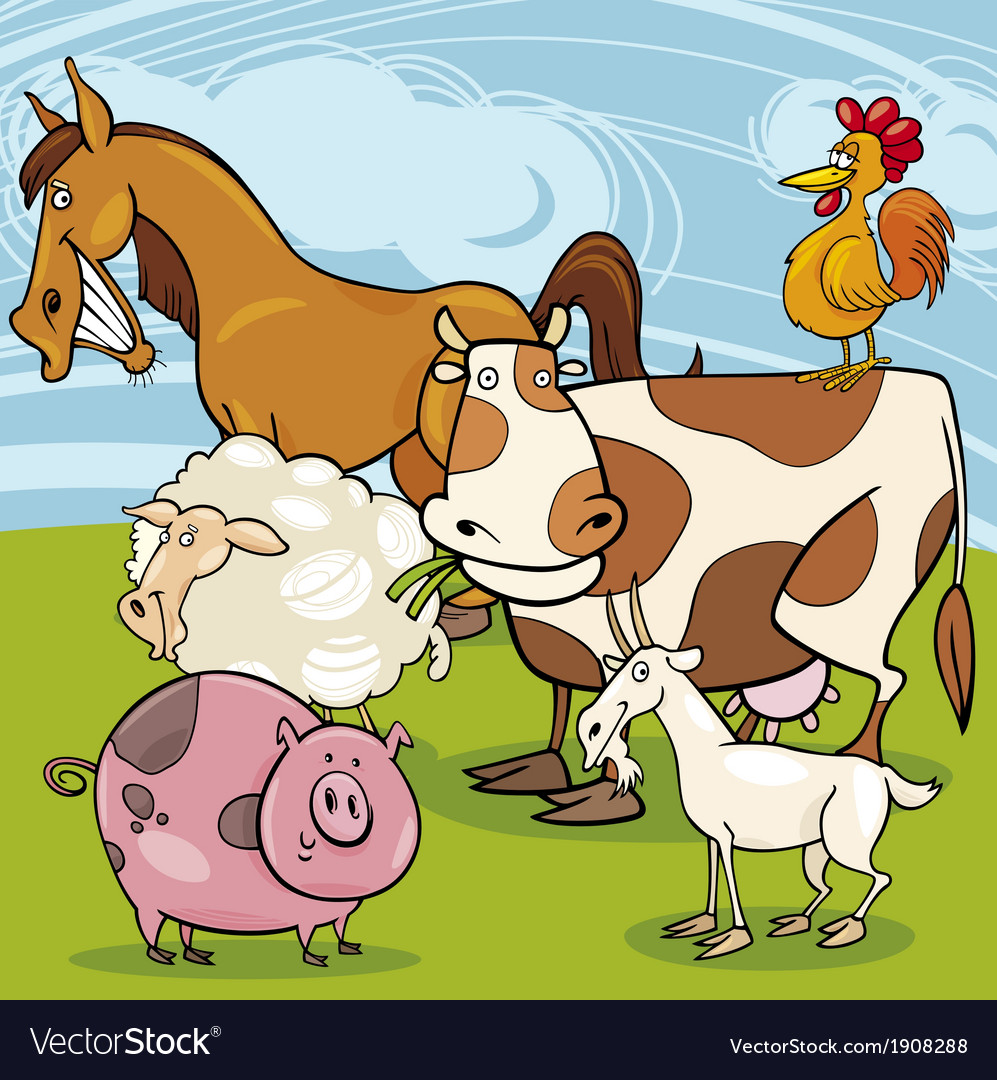 Farm animals cartoon group vector | Price: 3 Credit (USD $3)