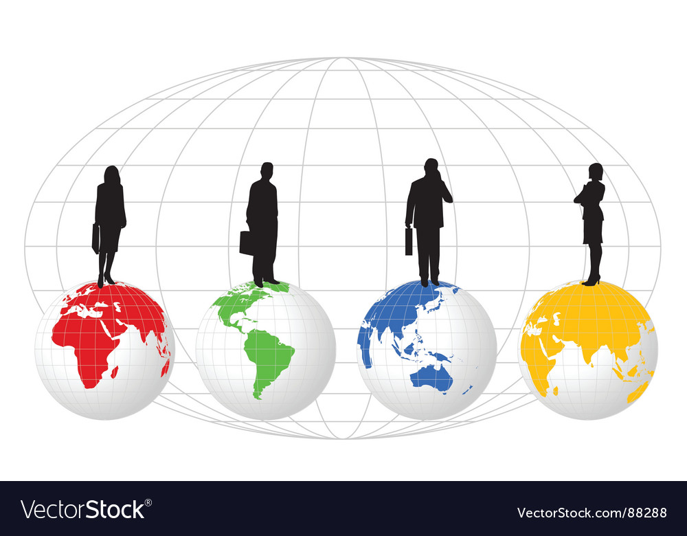 Figures on globe vector | Price: 1 Credit (USD $1)