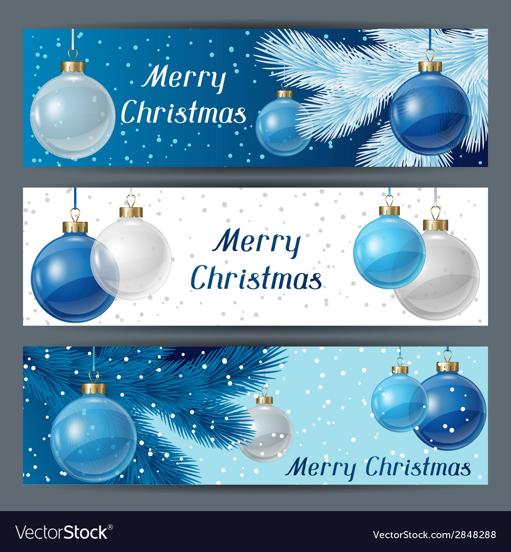 Holiday horizontal banners template with christmas vector | Price: 1 Credit (USD $1)