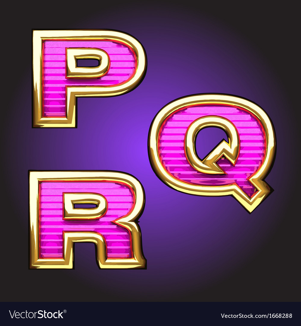 Pink letters with gold vector | Price: 1 Credit (USD $1)