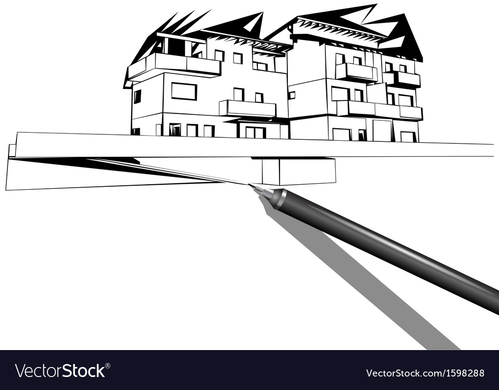 Rapidograph drawing a house vector | Price: 1 Credit (USD $1)