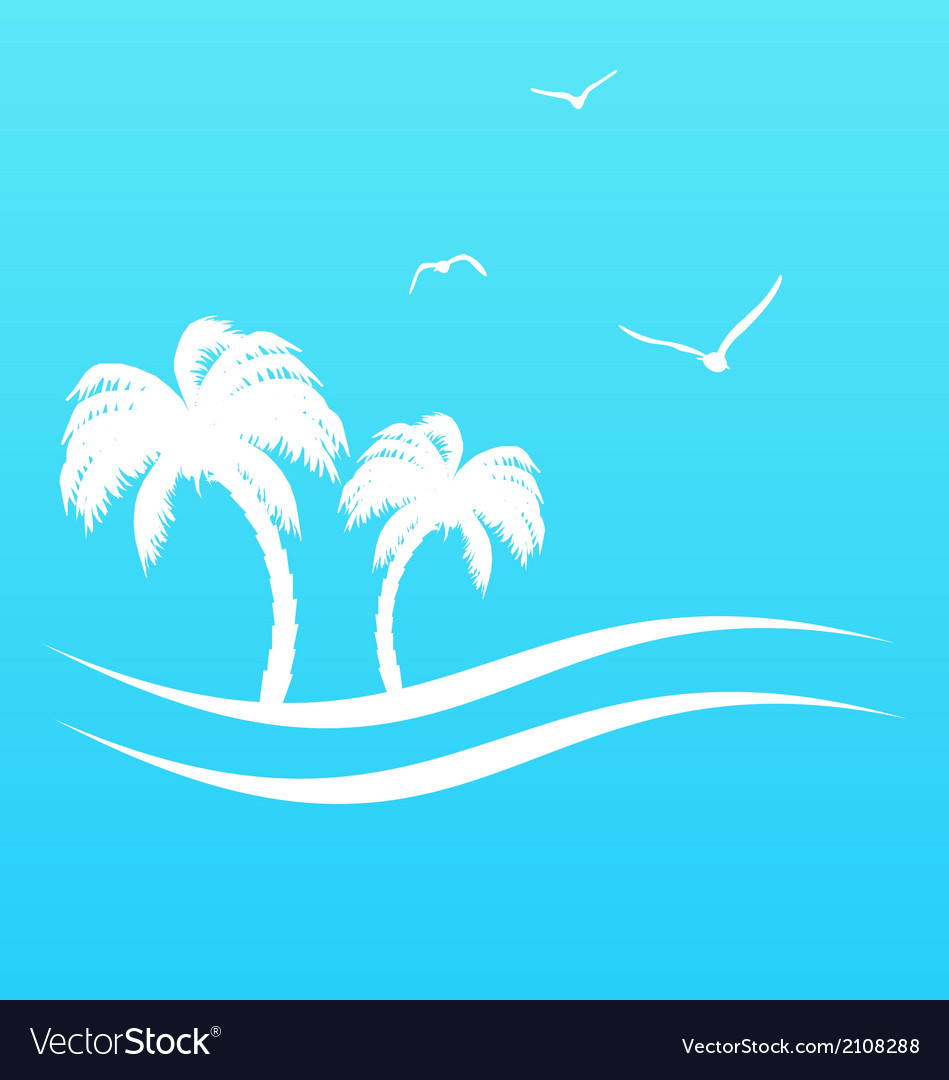 Tropical paradise background with palm trees and vector | Price: 1 Credit (USD $1)