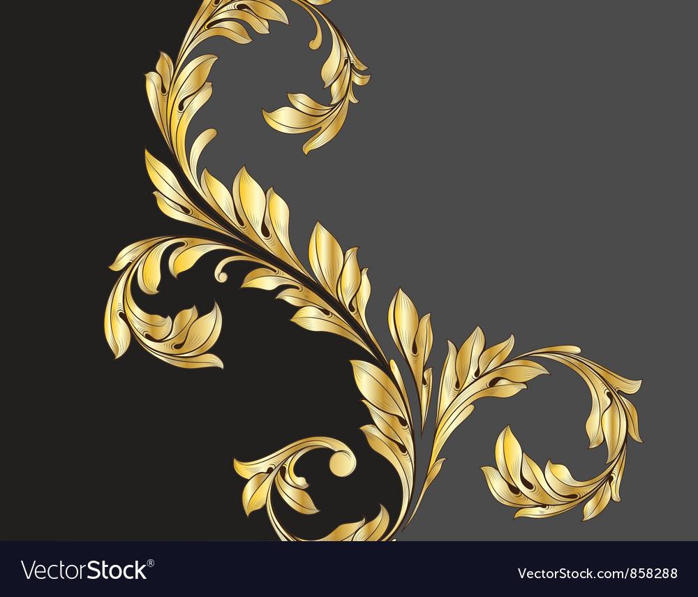 Vintage gold floral background vector   Price: 1 Credit (USD $1)