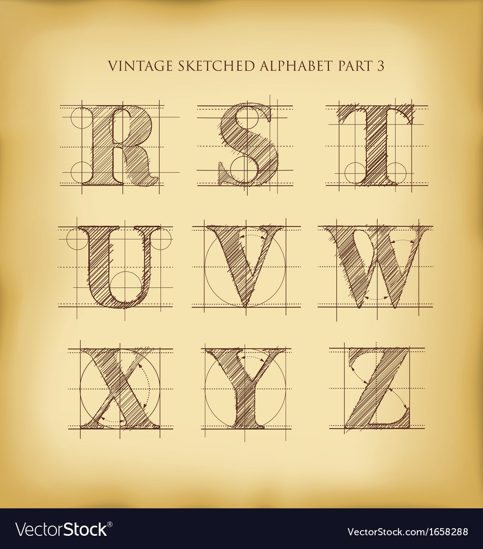 Vintage sketched alphabet set 3 vector | Price: 1 Credit (USD $1)