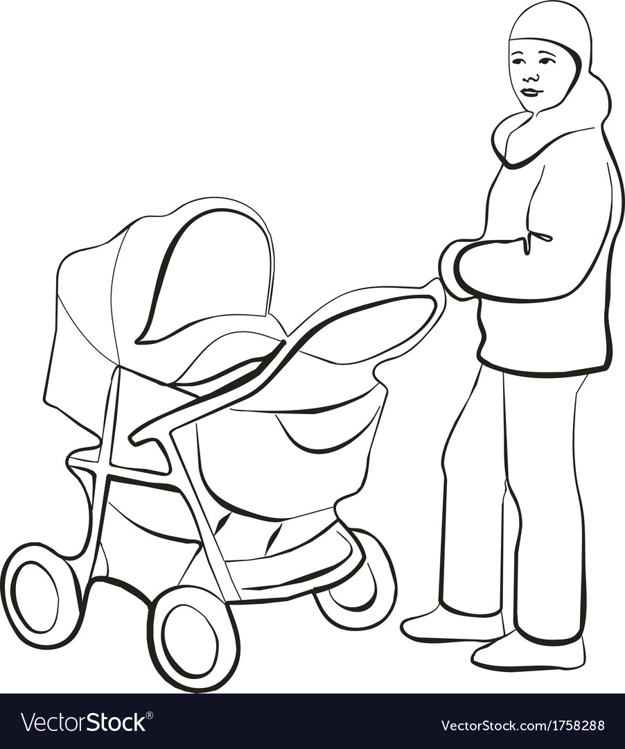 Walking family silhouette 01 vector | Price: 1 Credit (USD $1)