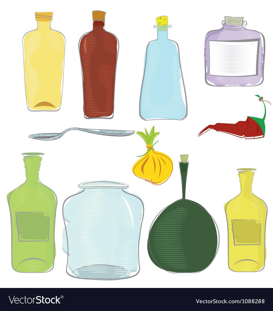 Water color jars icon set vector | Price: 1 Credit (USD $1)