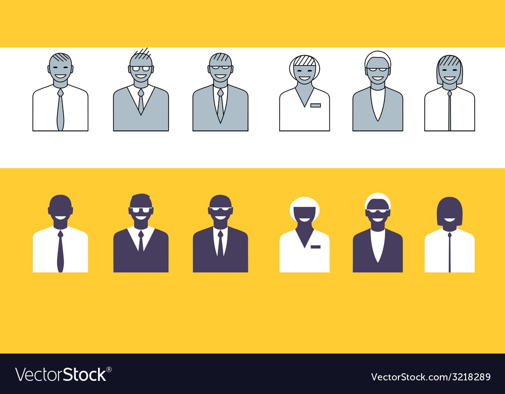 Business people simple avatars collection vector | Price: 1 Credit (USD $1)