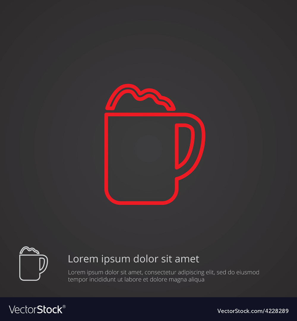 Cappuccino outline symbol red on dark background vector | Price: 1 Credit (USD $1)