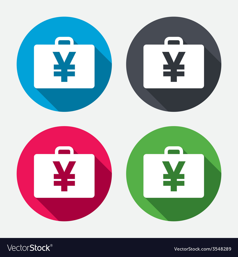 Case with yen jpy sign briefcase button vector | Price: 1 Credit (USD $1)