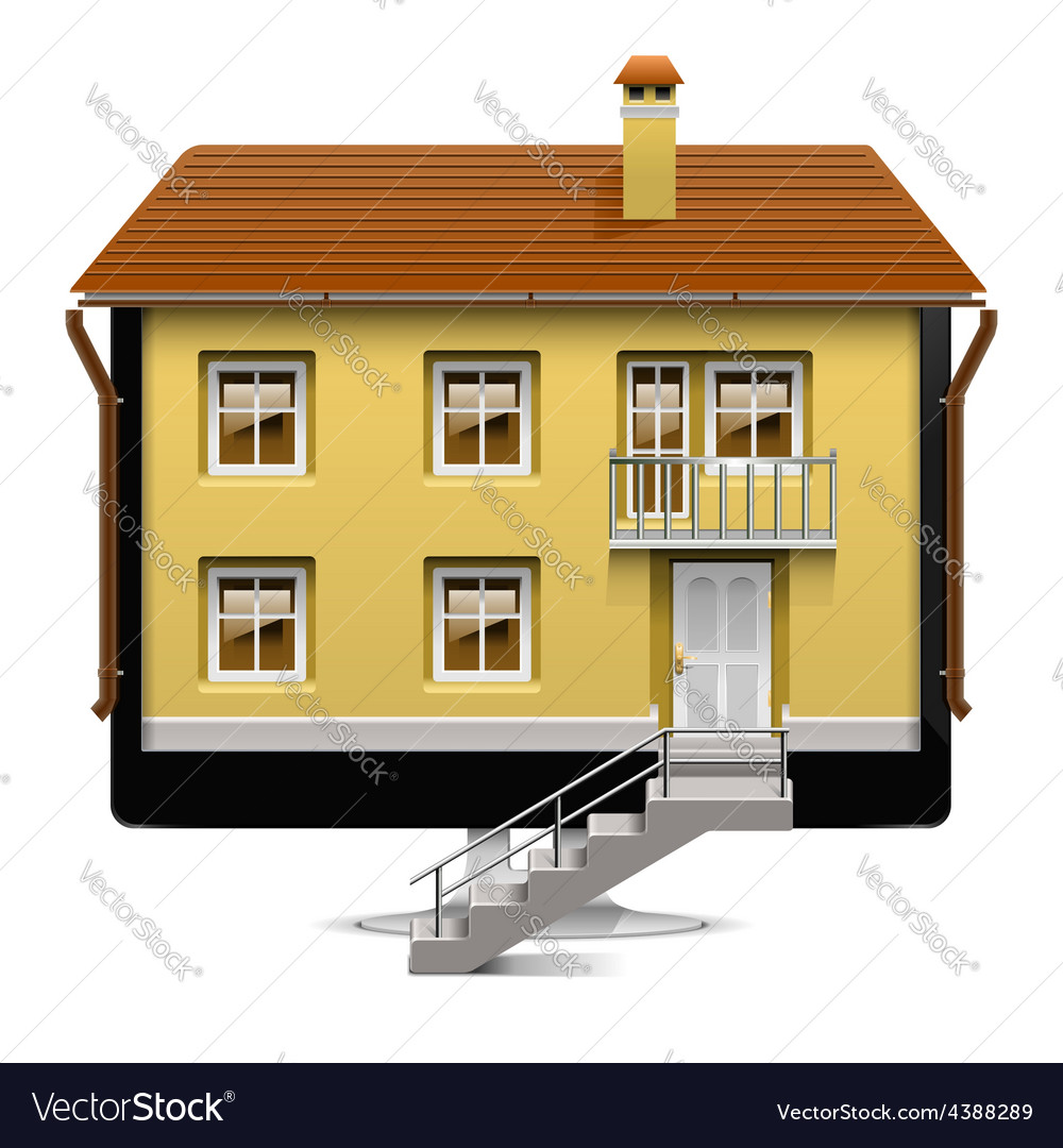 Computer house concept vector | Price: 3 Credit (USD $3)