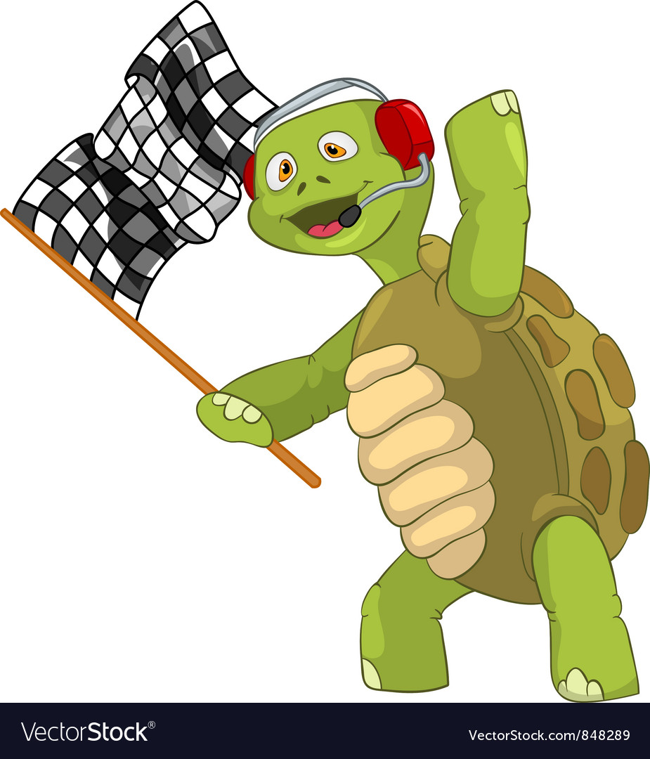 Funny turtle race finish vector | Price: 3 Credit (USD $3)