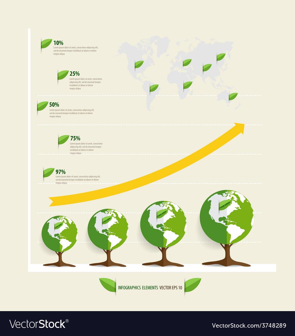 Green economy concept graph of growing vector