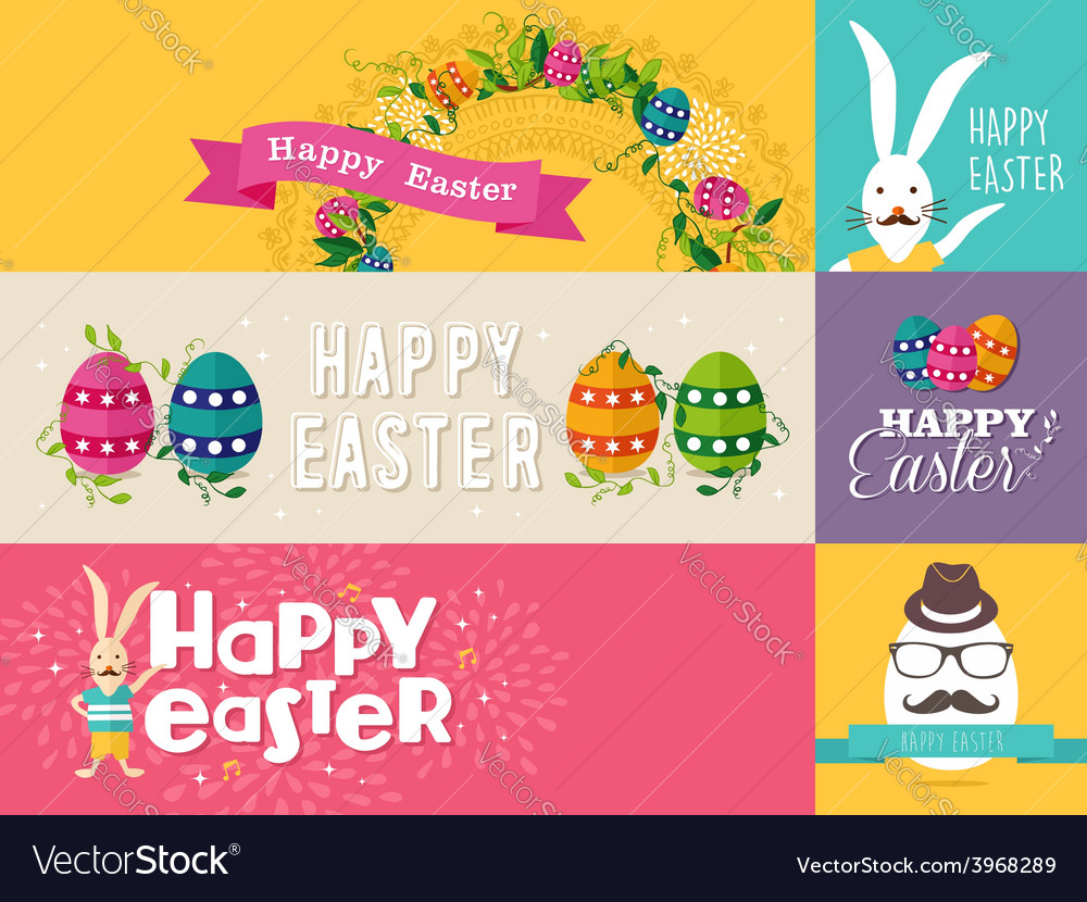 Happy easter flat design banners set vector | Price: 1 Credit (USD $1)