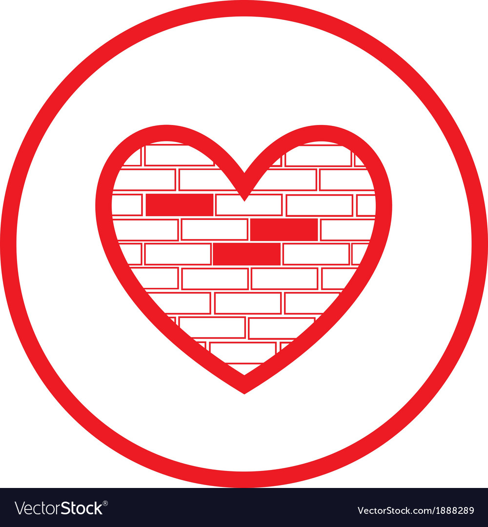 Heart and stone wall icon vector | Price: 1 Credit (USD $1)