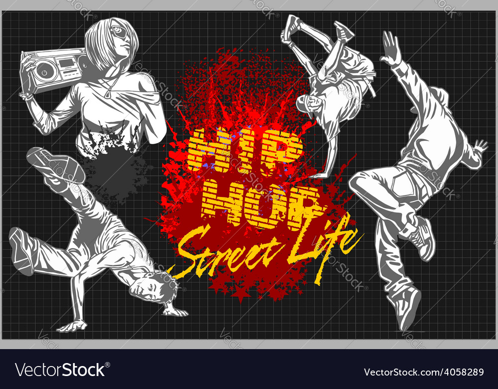 Hip hop and break dancers on dark background vector | Price: 3 Credit (USD $3)