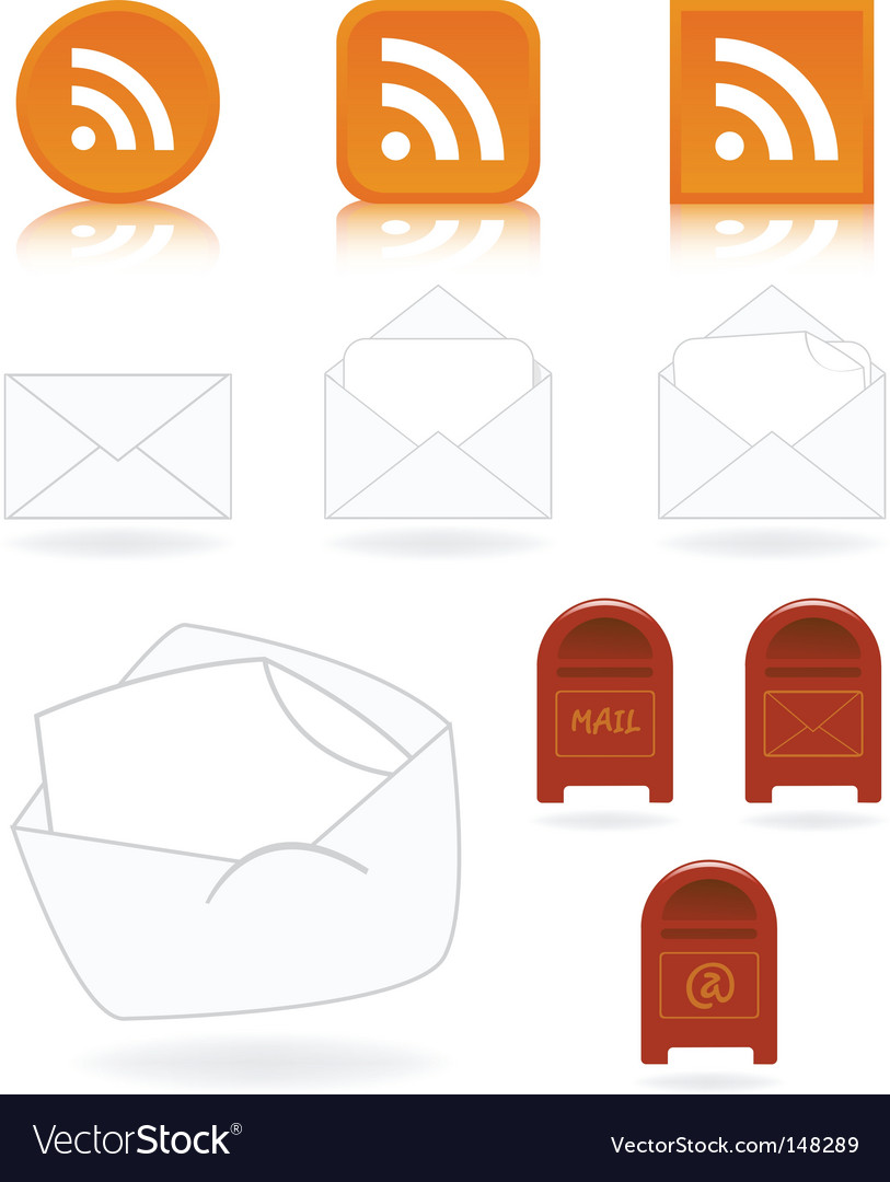 Mail and feed icons vector | Price: 1 Credit (USD $1)