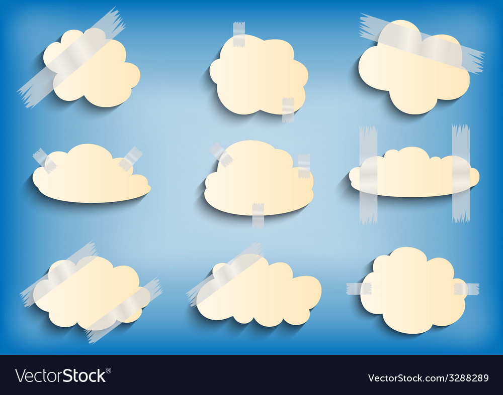 Paper cloud with scotch tape collection vector | Price: 1 Credit (USD $1)